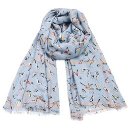$enCountryForm.capitalKeyWord NZ - 2019 Newest High Quality Fashion Brand Shawl Hummingbird Butterfly Animal Pattern Colorful Ladies Women Linen Cotton Scarf with Fringes