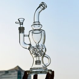"""Matrix Bongs Canada - FTK Thick Beaker Glass Bong Stereo Matrix to Swiss Perc Water Pipes 11""""inch Vortex Recycler Oil Rigs 5mm Dab Glass Hookahs Pipes"""