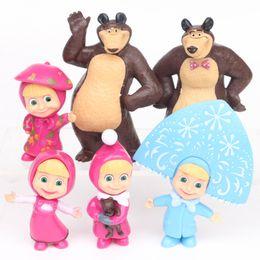 China Masha & The Bear Masha and Bear Painter Snow Maiden PVC Action Figures Toys Gifts for Children 6pcs set cheap masha bear toys suppliers