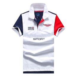 polo red white blue Australia - Embroidery London Polo Shirt Multi Color Short Sleeve men Polos Sport BLUE RED WHITE Dropship