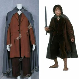 Wholesale japanese cosplay clothes resale online - Lord of the Rings Cosplay Frodo Baggins clothing cloak jacket full set