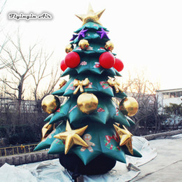 inflatable christmas balls Australia - Huge Inflatable Christmas Tree 5m Height Simulated Blow Up Xmas Tree With Ornament Ball For Festival Decoration