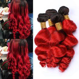 $enCountryForm.capitalKeyWord Australia - Ombre Red Dark Roots Loose Wave Peruvian Human Hair Weave Bundles 4Pcs 400Gram #1B Red Ombre Loose Wavy Virgin Hair Wefts Mixed Length