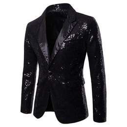 $enCountryForm.capitalKeyWord NZ - 2019 Mens Shiny Blazers Jackets Sequin Glitter suit Jacket Men Nightclub DJ Stage Singer suit Coats Wedding Party Overcoat