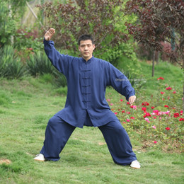 Kung Fu Suit Blue Australia - High Quality Wushu Kung fu Clothing Cotton Tai chi Uniform Kid Adult men women Martial arts Wing Chun Suit traditional Chinese Taiji clothes