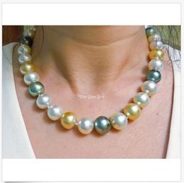 China 12mm-14.5mm Multi Color South Sea Baroque Pearl Necklace 18k Gold Italian Clasp supplier necklace italian gold suppliers