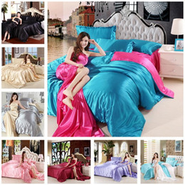 $enCountryForm.capitalKeyWord Australia - Solid Bedding set silk Bed Linen Duvet Cover Sheet Pillowcases 4pcs Luxury bed set Single Double Twin Queen Size Bedding Sets