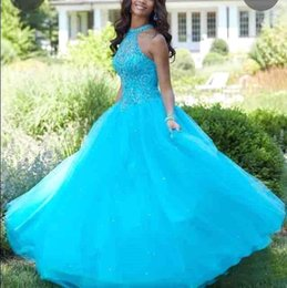 Silver quinceanera dreSSeS online shopping - 2019 Light Blue Tulle Ball Gown Quinceanera Dresses Halter Neck Beads Appliques Sleeveless Sweet Quinceanera Gowns BC0965