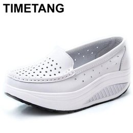 Swing Summer Shoes Australia - Designer Dress Shoes TIMETANG Summer genuine leather cutout breathable swing white nurse wedges heighten mother sandals C219