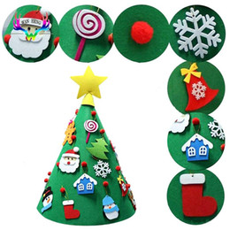 Christmas Decor Gifts Australia - Christmas Tree 3D DIY Felt Toddler Kit Childrens Kids New Year Gifts Toys Artificial Tree Xmas Decor Hanging Ornaments For Home