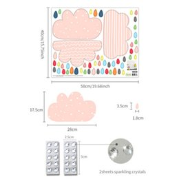 Kids Clouds Wall Stickers Australia - Kids Room Living Room Sparkling Crystals Wall Stickers Creative Pink Cloud Rain Wall Decals Nursery Decorative Self-adhesive Wallpaper Art