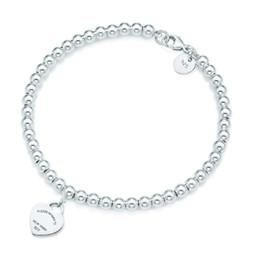 Wholesale 100% 925 Silver pendant tag bracelets T Genuine Charm love Heart Bead Bracelet Original Female men Jewelry Personality Gift
