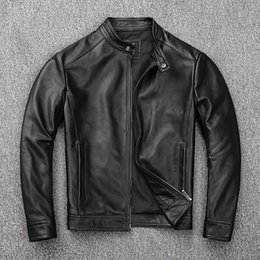 Discount free leather bikers - YR!Free shipping.sales.classic casual style genuine leather jacket.men slim cowhide coat.fashion slim jacket.motor biker
