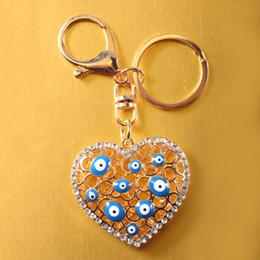 Eye Shaped Pendants Australia - Novelty Souvenir Gifts Fashion Love Heart Shape Turkey Blue Eye Plated Hangbag Pendant Key Chain Key Ring