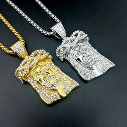 $enCountryForm.capitalKeyWord Australia - New Gold Designer Necklace Hip Hop Women Mens Necklace Rhinestone Jesus Iced Out Pendant Luxury Necklace Free Shipping
