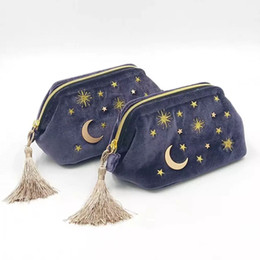 $enCountryForm.capitalKeyWord Australia - Cute Velvet Embroidery Cosmetic Bag Travel Organizer Women Makeup Bag Zipper Make Up Pouch with Moon Star Tassel