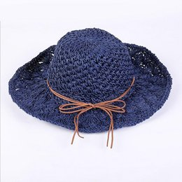 large brim straw NZ - Women Summer Large Brim Foldable Sun Hats Handmade Crochet Straw Beach Hat Sun Protection Hat Female