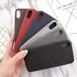 Discount fabric phone cases - Utral-thin Felt Fabric Material PU Leather Phone Case Flannelette Back Colorul Phone Shell for iPhone 7 8PLUS XR X MAX