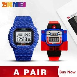 Wholesale father sons online – design SKMEI Watch Men Kids Cartoon Watches Fashion Casual Wrist Watches For Father Son Clock montre enfant homme Set