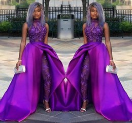 Modern proM suits online shopping - 2019 Classic Jumpsuits Prom Dresses With Detachable Train High Neck Lace Appliqued Bead Evening Gowns Luxury African Party Women Pant Suits