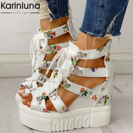 shoelace printing Canada - INS Hot Print Leisure Wedges women's Shoes 2019 Summer Shoes women Sandals Platform Shoelaces High Heels Casual Shoes Woman CJ191128