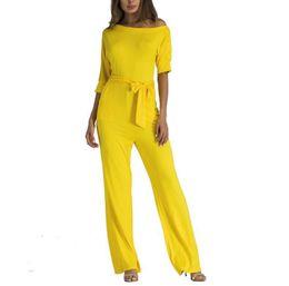 94a61fe88a7 2019 Sexy Women Off Shoulder Jumpsuit strap wide legs Jumpsuit 7 Colors  Solid Romper Trousers