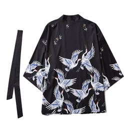 Wholesale japanese anime shirts online – design Japanese Kimono Traditional Shirt Yukata Unisex Casual Anime Print Shirt Traditional Costume Kimonos Men Street Wearcoat