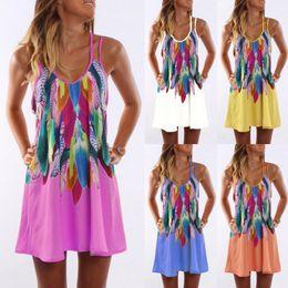 Geometric Design Dresses NZ - New design summer women dresses feather pattern boutique girls clothing