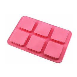 China Flower Six Grid Soap Molds Silicome Pure Color Rectangle Tear Resistance Heat Resistant Reusable Baking Cake Moulds 7 5hyE1 cheap rectangle soap mould suppliers