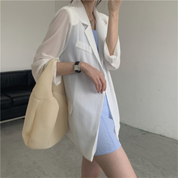 office suit cardigan NZ - wholesale 2020 New Sunscreen Blazer Women Summer Office Lady Loose Solid Minimalist OL Long-sleeved Cardigan Suit Jacket Tops Femme