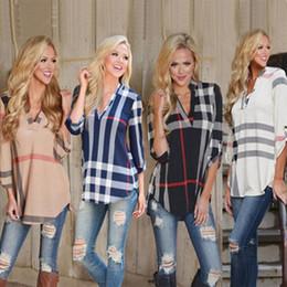 Wholesale v neck t shirts color online – design Women Spring Autumn Fashion Plaid Blouse t Shirt Ladies Sexy V Neck Tops Tee Three quarter Sleeve Casual Feminine Blouses plus size clothes
