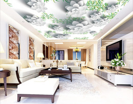 Wholesale designing wallpaper for sale - Group buy Custom Painting Flower D zenith mural Ceiling Wall Mural Modern Designs D Living Room Bedroom Ceiling Wallpaper Papel De Parede