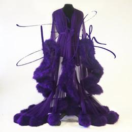 Floor length black silk robe online shopping - Imperial Grape Night Gown Cassandra Robe Fur Nightgown Bathrobe Sleepwear Bridal Robe Dressing Gown Party Gifts Bridesmaid Dress