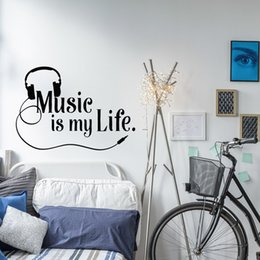 Wall Stickers Rock Australia - Musical window Decal Music Is My Life Wall Decal Quote Vinyl Wall Sticker Teen Boys Room Rock Music Mural Home Decor