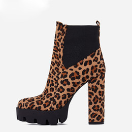 7f9b0d26a0dd Leopard Print Ankle Boots Fashion Women's Shoes Spring Autumn 2019 Round  Toe Chunky Heels 12cm Zipper Boots New