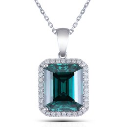 Small Pendants Australia - Transgems Luxury 14k White Gold 5ct 10x12mm Emerald And Small Moissanite Halo Pendant Necklace For Women Wedding Gift Y19032201