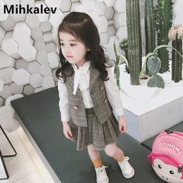 Girls Vest Shirt Australia - Mihkalev Kids Clothes Girls Autumn Clothing Set For Toddler Girl Long Sleeve Tracksuit Shirt+vest +skirt 3 Pieces Baby Outfits Y190518