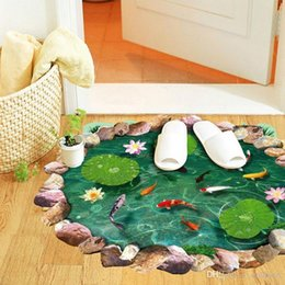 $enCountryForm.capitalKeyWord Australia - 3D Lotus Fish Pond Art Wall Sticker Floor Mural Vinyl Home Decor Wallpaper