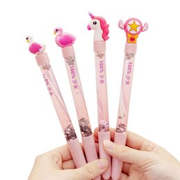 bling pens Australia - 1PC Kawaii Bling Bling Pink Unicorn Black Ink Gel Pen For Girls School Office Stationery Ballpoint Pens Supplies