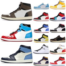 HigH tops soccer boots online shopping - Top Fashion Yellow Toe Fearless Obsidian High Low Travis Scotts OG s Basketball shoes Spiderman Bred Union UNC Mens Trainers Sneakers