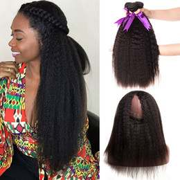 Discount kinky straight hair extensions - 360 Frontal With Bundles Malaysian Kinky Straight Hair Bundles With Closure Human Hair Bundles With 360 Closure Remy Hai