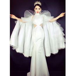 $enCountryForm.capitalKeyWord Australia - Women Fashion Stage Costume Clothes Formal prom party White long Trailing cloak Dress singer dancer star performance Dance wear