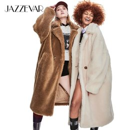 icon clothes NZ - JAZZEVAR 2019 Winter New High Fashion Womens Teddy Bear Icon Parka X-Long Oversized Coat Thick Warm Outerwear Loose Clothing DT191023