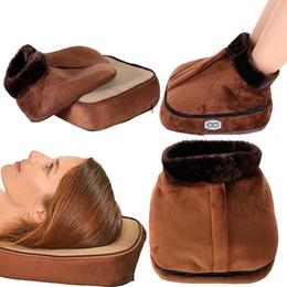 Heat Shoes NZ - Electric Foot Massager Vibrator Heated Warmer Cosy Unisex Velvet Feet Heated Foot Warmer Slipper Foot Heat Warm Massage Shoes