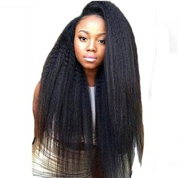 Coarse Yaki Lace Australia - Virgin Kinky Straight Full Lace Wig Human Hair Glueless Brazilian Pre Plucked Lace Front Human Hair Wigs Italian Coarse Yaki Straight