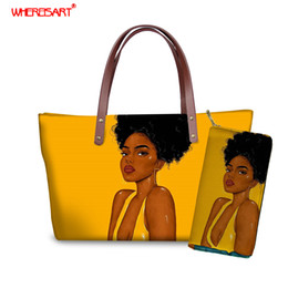 Clear totes wholesale online shopping - WHEREISART Women Designer Book Tote Shoulder Bag High Quality Black Queen African Prints Female Casual Shopping Handbag