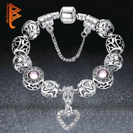 Bracelet Zirconia Silver Australia - High Quality European Silver Heart Pendant Beads Bracelets&Bangles with Crystal Charm Beads for Women DIY Jewelry with Safe Chain K3553