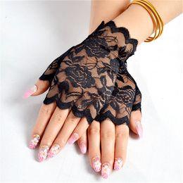 Black Blocks Australia - Floral Lace Fingerless Gloves Women Sheer Black Rose Gloves Scalloped Trim Summer Outdoor Sun-Blocking Mittens 2019 New Arrival