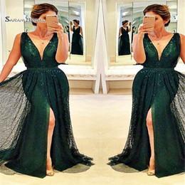 $enCountryForm.capitalKeyWord Canada - 2019 V-neck Beads Tulle Split Mermaid Prom Dresses Sleeveless High End Quality Evening Party Dress Hot Sales