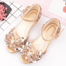 american girl children s clothes NZ - Children Summer Peep-toe Sandals Girls Shiny Bow Princess Leather Shoes Girl'S Art Literature And Art Performance Dress Shoes